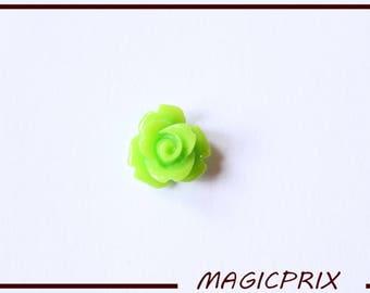 SET of 10 CABOCHONS flower Ø 10 mm Green m241B