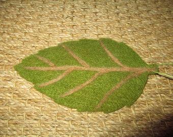 wood Brown green felt leaf