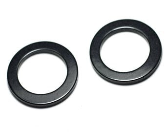 100pc env - beads resin plastic circles Donuts non pierced black - 8741140023628 28mm