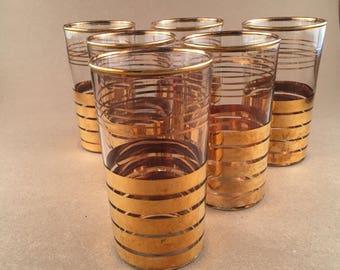 Vintage Gold Rimmed Striped Highball Glasses Set of 6 - Retro -  1960 - Mad Men
