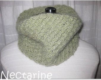 Soft lime green mohair Snood (neck)