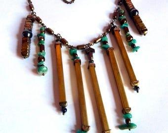 Chic ethnic bronze necklace with hematite and amazonite