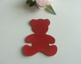 leather applique bear Red 7 * 6, 3 cm