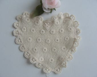 cream embroidered cotton lace oval flat 13 * 13 cm heart applique