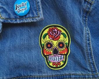 Yellow Sugar Skull Iron on Patch // FREE US SHIPPING