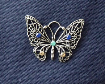 Silver metal rhinestone blue/turquoise/gold Butterfly charm