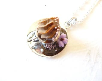 "Pendant Necklace: gourmet plate ""tea time no. 5"""