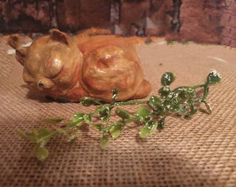 Vintage chalkware sleeping kitten