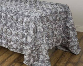 SILVER Rosette Tablecloth Rectangular Rose Grandiose Rosette Tablecloth  Tablecover
