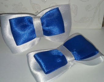 set of 2 bows satin two-tone blue and white 70 x 38 mm scrapbooking