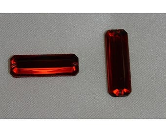 Rectangular red acrylic rhinestones (25mm x 8mm)