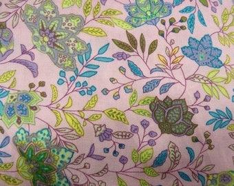Pink & purple flower print cotton fabric