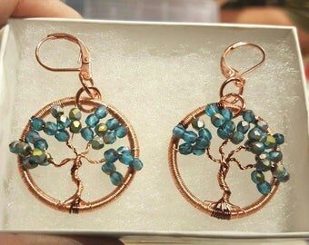 handmade wire wrapped tree of life pendent earrings in copper wire and crystal beads