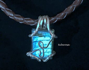 blue ark(unisex pendant top / silver・labradorite/ one-off)