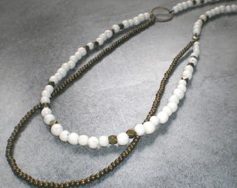 Long MULTISTRAND asymmetrical white marble and bronze