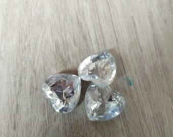 transparent white heart shaped cabochon