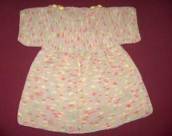 dress 2 years, 100% cotton, short sleeves, gathered waist, multicolor beige yellow/orange