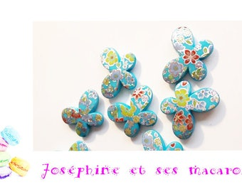 1 TURQUOISE Pearl acrylic Butterfly 29 x 22 mm