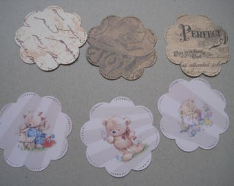 Set of 6 images, embellishments, tags, scrapbooking, Teddy, toy, butterfly, flower, Scriptures, childish