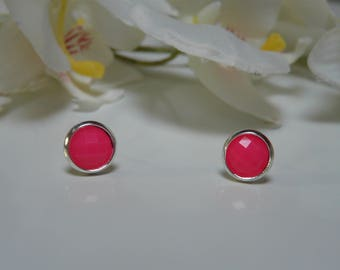 Made from 8mm neon pink resin cabochon Stud Earrings