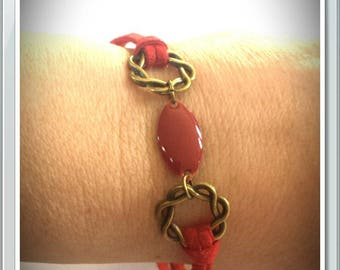 Red suede bracelet with charms and sequin