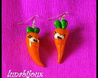 funny carrot ear earring Fimo