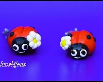 polymer clay Ladybug birthday jewelry gift earring