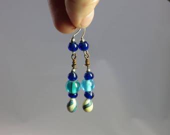 Handmade lampwork and vintage cobalt earrings