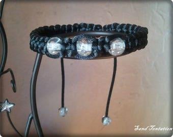 Black shamballa bracelet with round beads