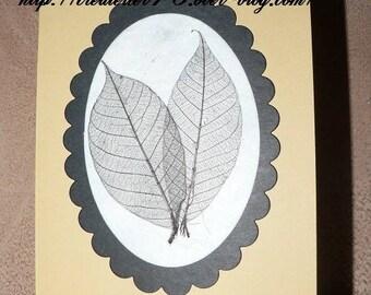 """medallion and leaf """"skeleton"""" black and kraft card"""