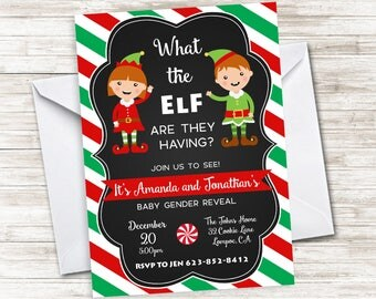 Elf Gender Reveal Invite Christmas Invitation Digital 5x7 What The Elf Chalkboard Baby