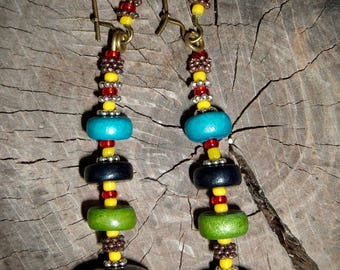 Earrings with the name of Murniati wood and glass beads