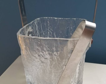 Retro glass ice bucket with tongs