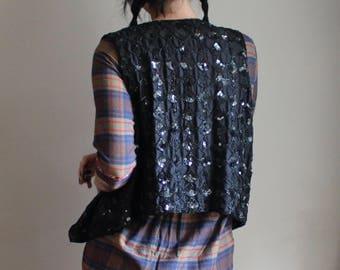 Womens Black Sequin Vest, Vintage
