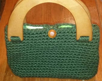 Green Crocheted Lined Clutch Purse