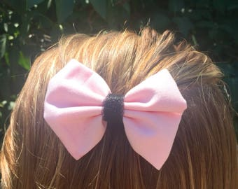 ADORABLE pink and black hair bow clip made with fabric and tulle