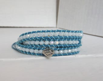 Bracelet type chan luu in shades of blue and white/wrap bracelet