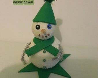 Green and white snowman