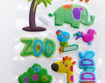 sheet of 17 stickers in relief effect zoo jungle crocodile bird elephant Tiger giraffe fabric
