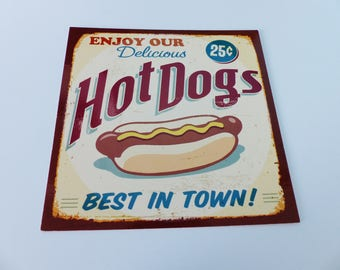 square card hot dog style advertising old vintage