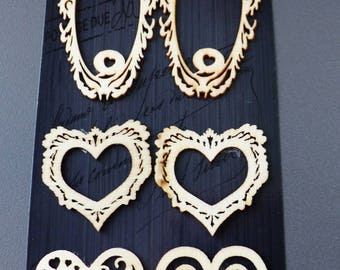 frame and wooden embellishments 6 wooden heart