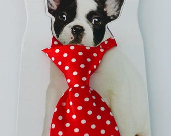 tie for dog Pet tie fabric red polka dot diameter of 9 to 16 centimeters