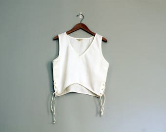 Cropped White Side-tie tank