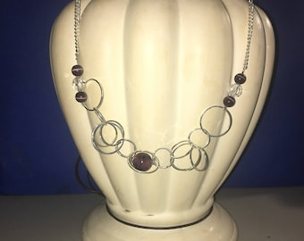 Purple and silver hoop necklace