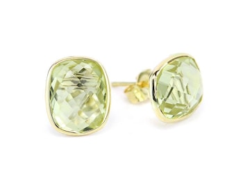 14k Yellow Gold Stud Earrings With Cushion Cut Lemon Quartz - Gemstone Studs