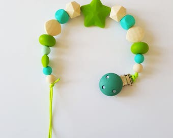Pacifier holder / pacifier in food grade silicone