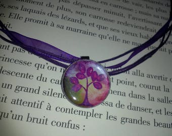 Organza necklace and its purple and green tree of life Locket