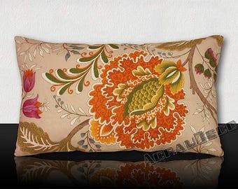 "Cushion ""toile de Jouy"" large flowers/orange/purple/saffron / beige/green imperial Tangerine/white/blue/gray on an ecru background."