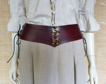 Red waist cincher belt dark leather