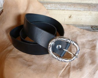 Beautiful black leather belt buckle